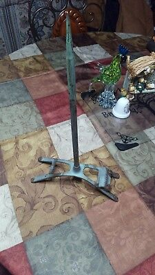 "17"" Vintage SOLID COPPER LIGHTNING ROD & STAND from an old barn,antique"