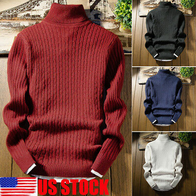 USA Winter Men Knitted Roll Turtle Neck Pullover Jumper Knitwear Woolen Sweater