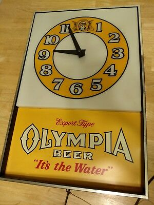 Vintage 1980 Olympia Beer Clock Light Project Piece NOT WORKING READ DESCRIPTION