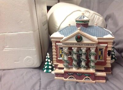 Dept 56 The Original Snow Village Public Library 1993 With Sleeve And Styrofoam