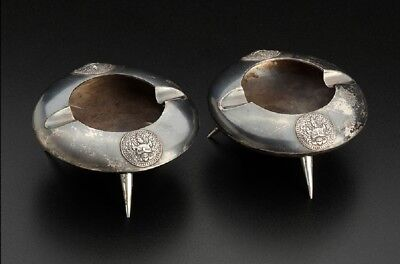 Thai silver ashtray pair. Three-legged disk shape. #96g/ 3.38oz.