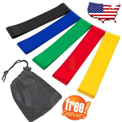 Fitness Stretching Yoga Men Women Legs Resistance Loop Exercise Bands Set of 5