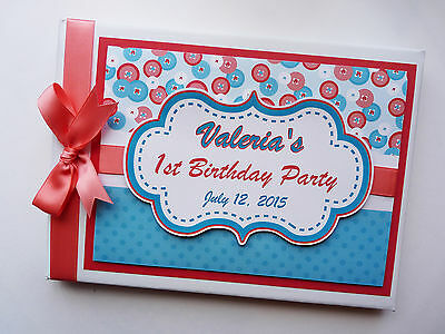 Personalised Cute As A Button Birthday Guest Book Any Design