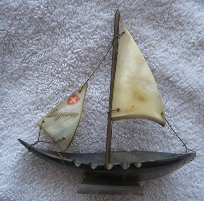 Antique Travel Souvenir LUGANO Sailboat made with Swiss Cow HORN early 1900's