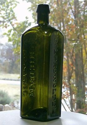 Udolpho Wolfe's Schnapps Bottle Vibrant Olive Green Graphite Pontil Applied Top