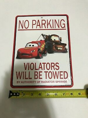 "Cars ""No Parking"" Decorative Metal Sign - Lightning McQueen and Mater"