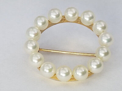 Vintage 14k Solid Yellow Gold 5mm Pearl Circle Round Brooch Pin