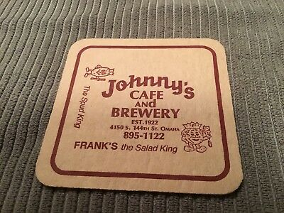 Vintage Beer Coaster, Johnny's Cafe And Brewery, Omaha, NE