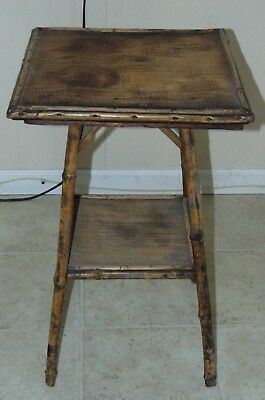 Mid Century Modern BAMBOO retro antique small side end table REAL OLD