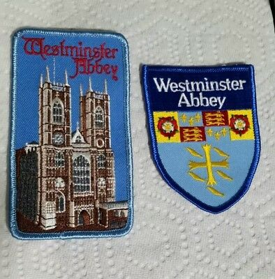 Lot of 2 vtg  Westminster Abbey Patchs Souvenir London England iron on