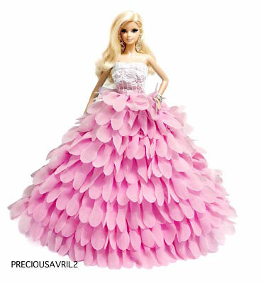 New Barbie doll clothes outfit princess evening wedding pink petal dress gown