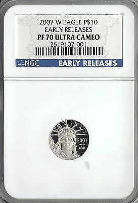 2007-W 1/10 Ounce Proof Platinum American Eagle $10 Ngc Pf 70 Ultra Cameo Er