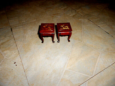2 Miniature Dollhouse Furniture Mahogany Wood End Tables must see