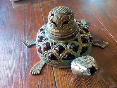 Unusual & Unique Vintage Glass & Brass Turtle Ink Well Antique Made in India