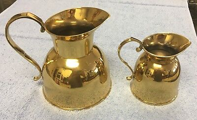 Attractive Pair of lightly used vintage Indian heavy metal (Brass ?) Pitchers