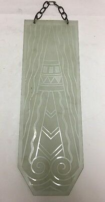 Vtg Art Deco Frosted Glass Panel Geometric Architectural Salvage