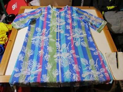 Bob Mackie Wearable Art Colorful Floral Knotted Button Long Light Oriental Gown