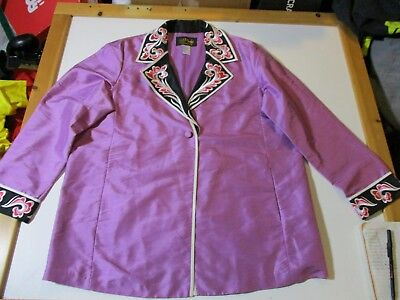 Bob Mackie Wearable Art Silk Embroidered One Button Lightweight Lined Jacket-Lg