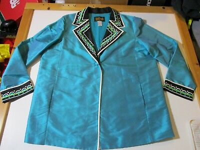 Bob Mackie Wearable Art Silk Embroidered One Button Lightweight Lined Jacket-Lg2