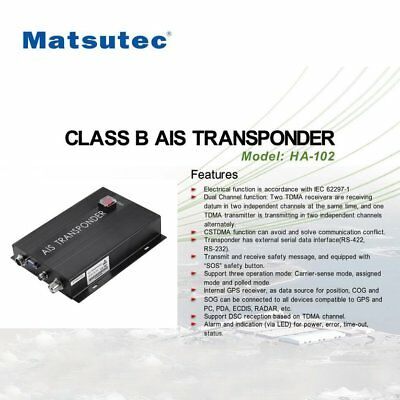 Matsutec HA-102 CLASS B AIS Transponder 2 Channels Function CSTDMA FunctionPG