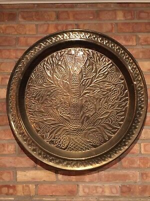 "XL Vintage 1960's-70's Brass Wall Platter 28"" Round Unusual Design Scandinavian"