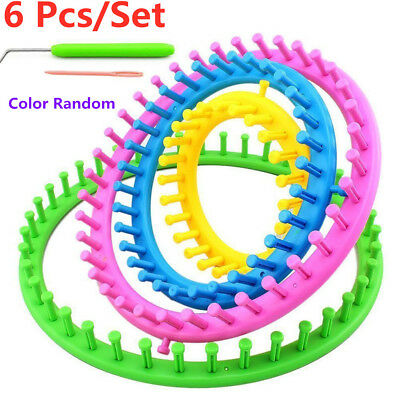 6 Pcs Plastic Round DIY Wool Knit Tool Circle Hat Scarf Sweater Flower Loom Set!