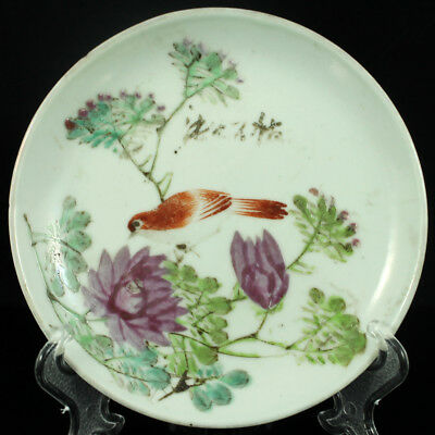 Chinese Republic Period Famille Rose Porcelain Plate w/ Bird & Flowers Seal Mark