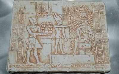 Rare Ancient Egyptian Mammisi Chapel Wall Art ISIS Plaster of Paris Vintage