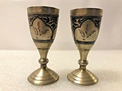 Pair Of Vintage Russian Soviet Union 875 Solid Silver Enamel Niello Vodka Cups