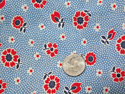 Vintage cloth feed sack floral dot print - quilt or craft project fabric