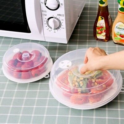 Microwave Food Dish Dustproof Cover Plate Vented Splatter Safe PP Clear Kitchen