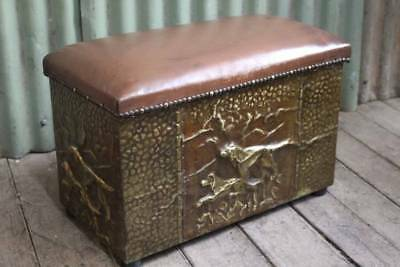 An Antique Brass Coal Box with Leather Upholstered Seat - Firewood Box