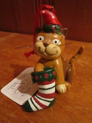 Orange Brown Striped Smiling Cat Christmas Ornament Kitty Stocking Poly Resin 3""
