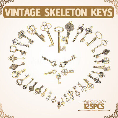 125Pcs Antique Vintage Old Look Bronze Tone Pendants Jewelry Mix Skeleton Keys