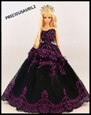 Brand new Barbie doll clothes outfit wedding black & purple evening dress
