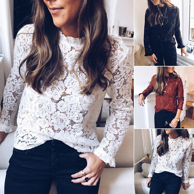 Fashion Women Summer Loose Casual Sexy Long Sleeve Lace T Shirt Tops Blouse New