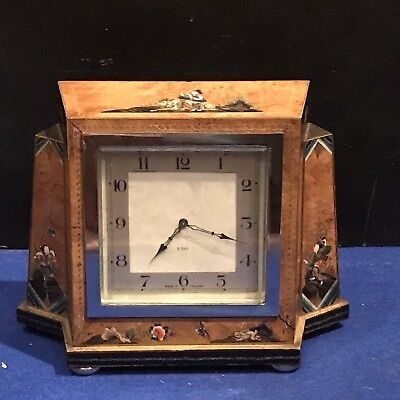 Art Deco Chinese Hand Painted  Scenes Mantel Clock