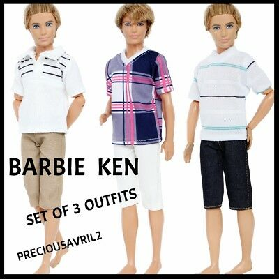 Ken doll clothes barbie outfit casual 3 sets pants & t/shirts quality NEW