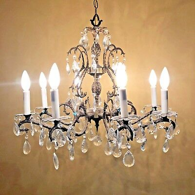 "8 Light 8 arm Spanish Gold Brass/Bronze Crystal Chandelier 34"" high 25"" Diam"