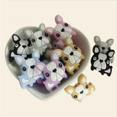 5pcs Lovely Baby Puppy Wood Colour Beads Baby Toy Teether Silicone Beads FI