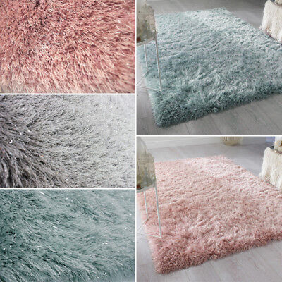 Luxury Shimmer Silk Shaggy Soft Living Room Rug Fluffy Carpet Floor Mat Blankets