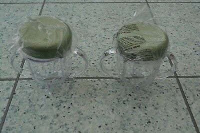 New Baby Nutri Bullet 2 x Replacement Additional Short Cups with Lids