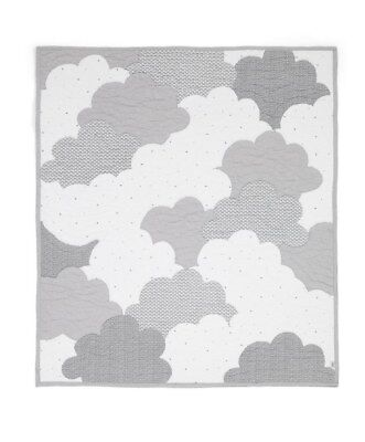 Mamas and Papas Welcome to the World Grey Cloud Quilted Cot / Cot bed Coverlet