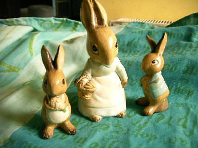 Vintage Peter Rabbit Family Three Beatrix Potter Ceramic Figures..
