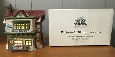 "Vintage Dickens Village ""the Mermaid Fish Shoppe"" #59269"