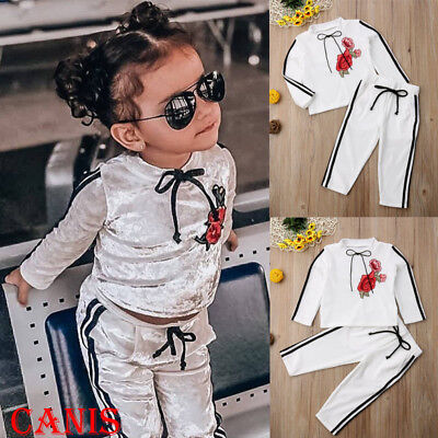 Christmas Toddler Kids Baby Girl Velvet Top Sweatshirt Pants Outfits Clothes US