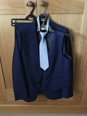 Ex Con Marks & Spencer Autograph Boys Navy Three Piece Suit Age 11-12 Years