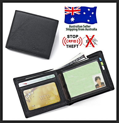 Genuine Leather Mens Wallet RFID Blocking Anti Scan Credit Card  Bifold Purse