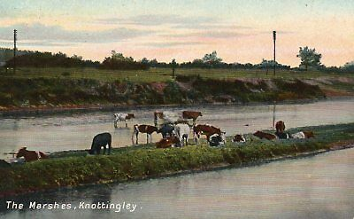 PC PRINT. The Marshes, Knottingley. W.A. Bilton. PU 1911. Near WAKEFIELD.