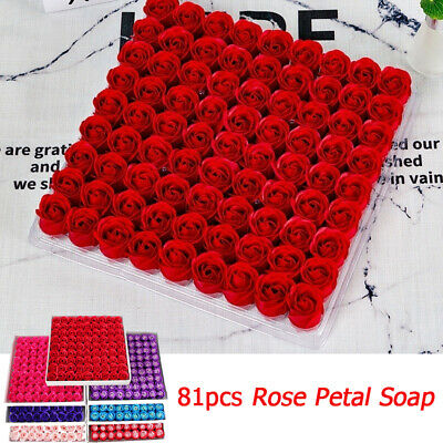 81 Pcs Rose Bath Body Flower Wedding Party Valentine's Day Gift Floral Soap +Box